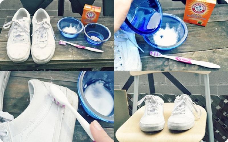 Giặt giầy thể thao với Baking soda và bàn chải