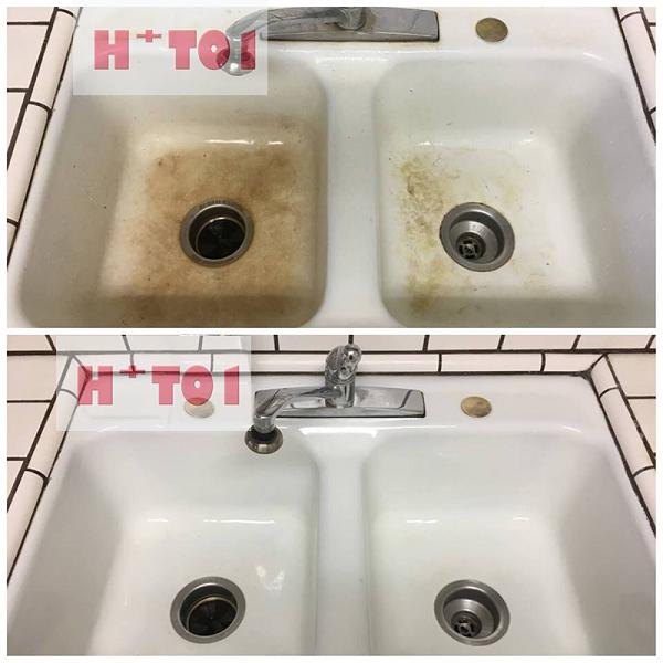 tẩy ố vàng trên bồn rửa mặt